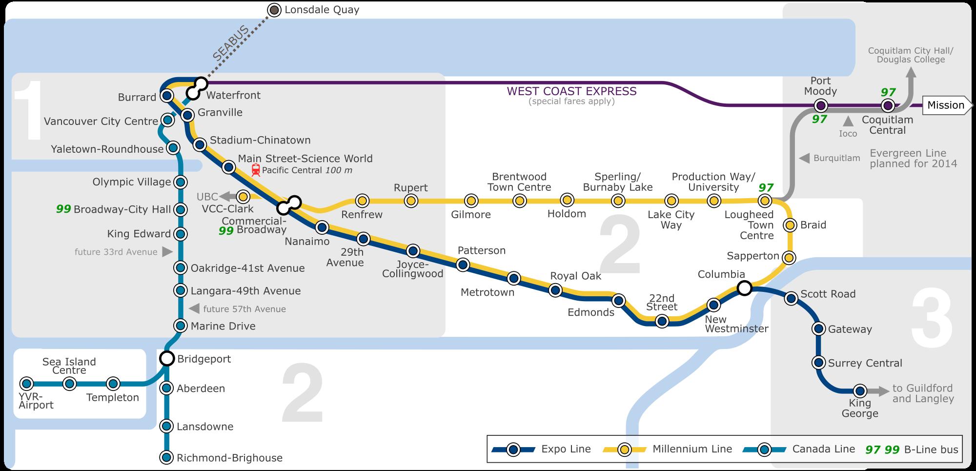 Bc Skytrain Map SkyTrain: Vancouver metro map, Canada