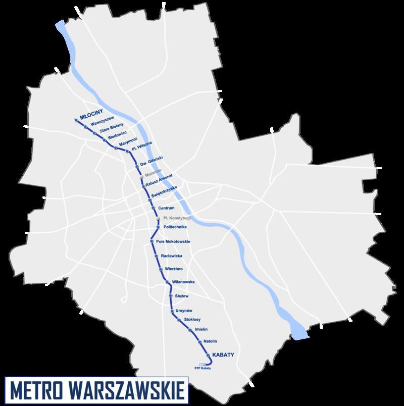 Mappa della metropolitana di Varsavia Alta risoluzione