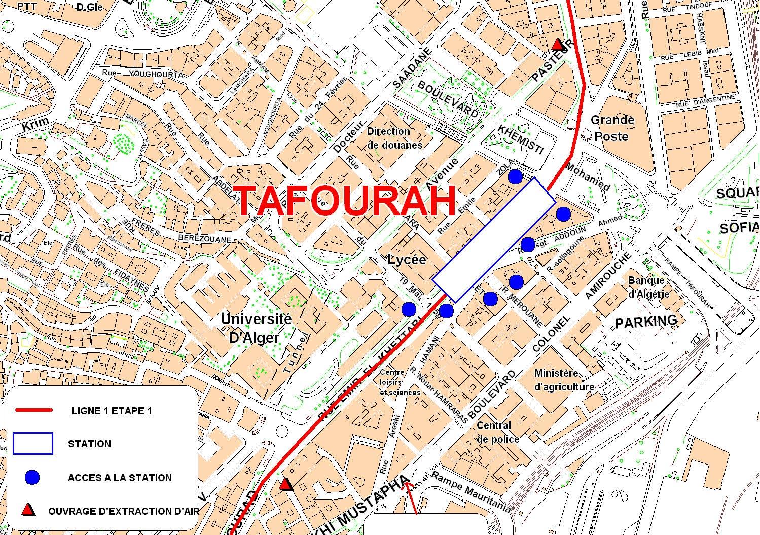 Algiers metro map Algeria