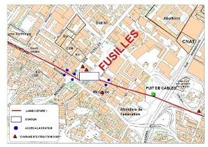 Algier's underground Les Fusilles station plan