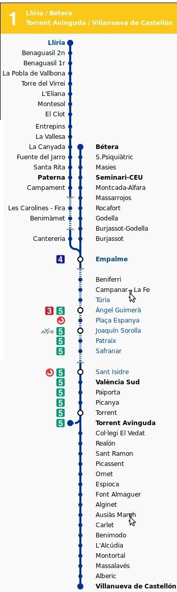 Mapa Metro Valencia 2015.Valencia Metro Map