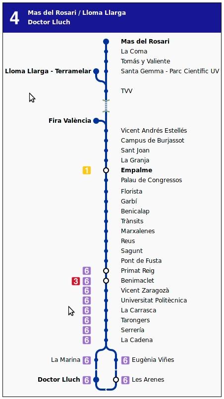 Valencia metro map Spain