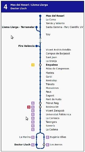 Valencia's metro map, Line 4, Spain